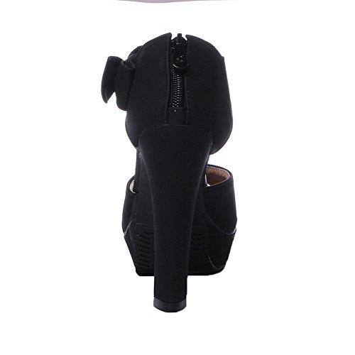 AalarDom Mujer Puntera Abierta Tacón Alto Sólido Sandalias de vestir Negro