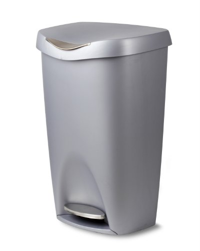 Umbra Brim 13 Gallon Trash Can with Lid - Large Kitchen Garbage Can with Stainless Steel Foot Pedal, Stylish and Durable, Silver/Nickel (Nickel Super Gem)