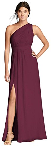 David's Bridal Long One-Shoulder Crinkle Chiffon Bridesmaid Dress Style F18055, Wine, 22