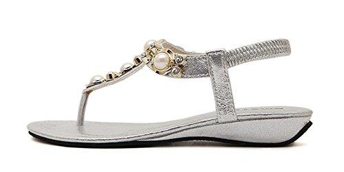 Aisun Rhinestone Silver Trendy Flat Bohemian Womens Pretty Bead Sandals rX8gZrq7
