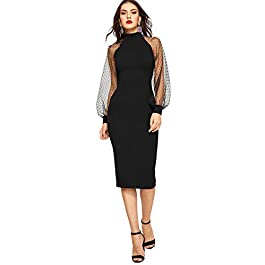 Romwe Women's Mock Neck Long Mesh Sleeve Zipper Back Sheath Dress