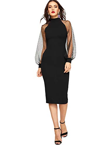 Romwe Women's Mock Neck Long Mesh Sleeve Zipper Back Sheath Dress Black Large