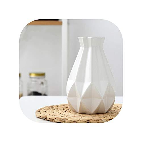 Creative Ceramic vase Simple Nordic Diamond Inspiration fold vase Dried Flowers vase Ornaments Flower Home Decor,Medium White