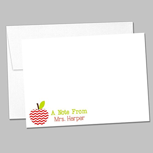 Set of 10 Personalized Flat Back to School Notecards - Apple Notecard Set - Teacher Gift Set (ID191) by Oh Baby Stickers! (Image #1)