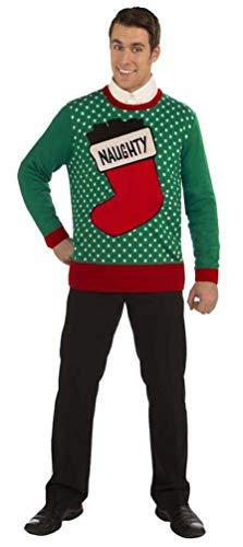 Forum Novelties Plus Size Naughty Stocking Novelty Christmas Sweater, Multi, X-Large -