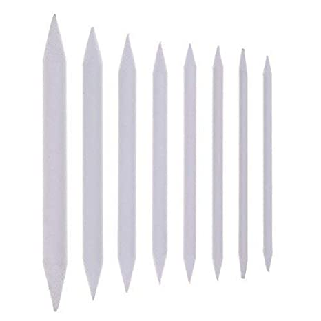 Buytra 8 Pieces Blending Stumps and Tortillons Set Art Blenders Sticks for Drawing, Sketch, Colored Pencils, White, 8 Sizes 4336945524