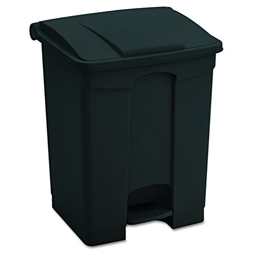 Safco Products 9923BL Plastic Step-On Trash Can, 23-Gallon, Black (Trash Plastic Receptacle)