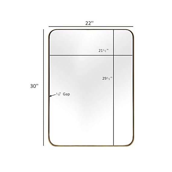 """ANDY STAR Gold Bathroom Mirror,22x30'' Brushed Brass Metal Frame Rounded Corner Wall Mirror,Rectangle Wall Mounted Mirror Glass Panel Hangs Horizontal or Vertical for Bathroom,Vanity,Washroom - An Ornate Gold Mirror: An artistic display on its own, this brass mirror is a beautiful part of any home decorating scheme. Bring simple sophistication to any room with our 22"""" x 30"""" floating glass modern round corner gold metal framed mirror. The plate glass mirror floats in the frame surrounded by a thin 1/12"""" gap. Perfect Bathroom Mirrors for Wall: This 22'' x 30'' inch large mirror is the ideal size for the wall of a bathroom or an entryway. The golden metal frame adds elegance and class. The rounded corners lend a softness to the design. The polished mirror is presenting a beautiful reflection without any distortion of visual, and premium MDF backing prevents corrosion in humid environments,make it perfect for bathroom. Wall Mirrors Decorative for Home: This timeless metal rectangle round corner large mirror matches any room and any decor perfectly. Use as a gold or brass bathroom mirror, vanity mirror, or entry mirror. Add light and enhance the beauty of any room in your home instantly! - mirrors-bedroom-decor, bedroom-decor, bedroom - 31ogBbwr7kL. SS570  -"""