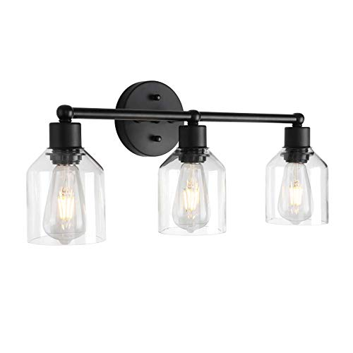 Black Bathroom Vanity Light Fixtures Over Mirror Vintage Bathroom Wall Lighting with Clear Glass Shades (3 Lights)