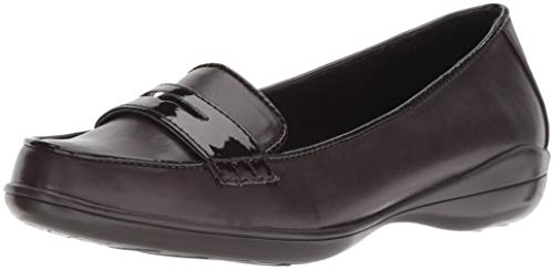 Soft Style by Hush Puppies Women's Daly Penny Loafer, Dark Brown Vitello/Patent, 7 M US