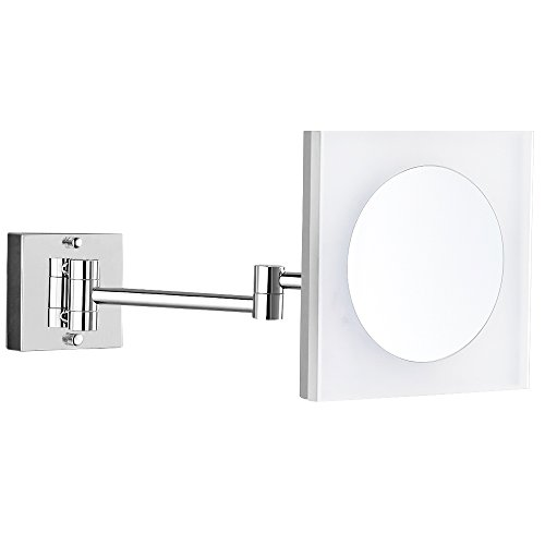 GURUN 8-Inch Adjustable Lighted Wall Mount Magnifying Mirror Acrylic with 3x Magnification,Chrome Finish M1804D(8in,3X) by GURUN