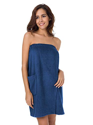 SIORO Bath Shower Wrap for Women, Bamboo Cotton Towel Wraps Spa Bathrobes with Adjustable Closure & Pockets,Sea Blue S