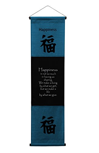 G6 Collection Inspirational Wall Decor Happiness Banner Large, Inspiring Quote Wall Hanging Scroll, Affirmation Motivational Uplifting Message Decoration, Thought Saying Tapestry Happiness (Dark - Decorative Wall Scroll