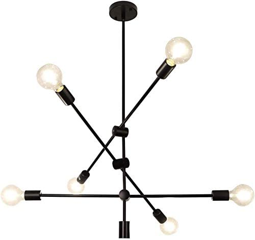 Ganeed Sputnik Chandelier 6 Lights Modern Pendant Light Industrial Vintage Black Flush Mount Ceiling Light Fixtures For Dining Room Kitchen Island Bedroom Amazon Ca Home Kitchen