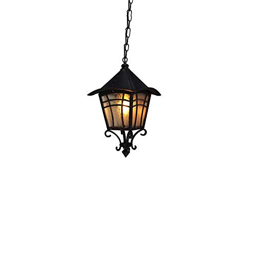 (Wapipey IP44 Waterproof American Retro Outdoor Aluminum Chandelier Garden Ceiling Lamp Street Antique Metal 1-Light Transitional E27 Pendant Hanging Lantern Lights)