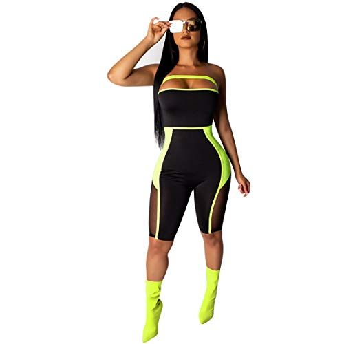- ECHOINE Women's Sexy Bodycon Jumpsuit Romper - Mesh Stitching One Piece Outfits Short Party Clubwear Fluorescent Green