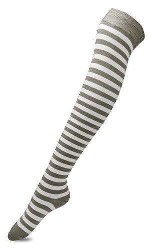 Womens Stripe Pattern Over The Knee High Socks with Non Slip Silicone(Khaki&White,One Size)