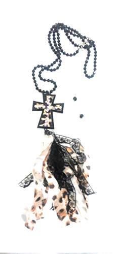 Treasure Leopard Cheetah Rhinestone Cross Lace Ribbon Tasse Beaded Necklace Earrings Set 38