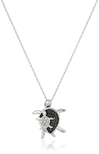 10k White Gold Black and White Diamond Mother and Baby Turtle Pendant Necklace (.08 cttw), - White Gold Turtle