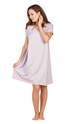 Cotton Nursing Nightgown (Savi Mom Nursing Nightgown with Nursing Slits M Light Lavender)