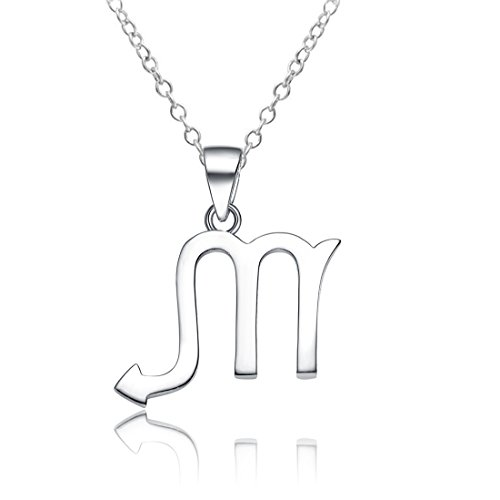 Sahaa 925 Sterling Silver Zodiac Sign Necklace Horoscope Constellation Pendant Astrology Charm Necklace Birthday Gift (Scorpio)