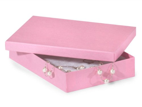 7x5x1-1/4'' Pink Jewelry Boxes w/ non-tarnish Cotton (Unit Pack - 100)