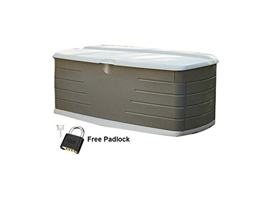 Rubbermaid Deck Box Patio Pool Storage Premium Waterproof Bench Seat in Large Outdoor Design With Free Padlock (Bench Outdoor Rubbermaid)