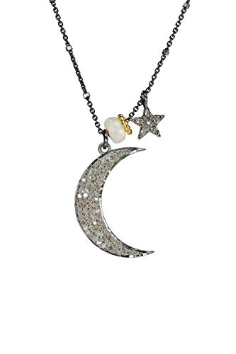 Real Opal Diamond Mixed Metal Crescent Moon and Star Pendant Necklace- 17