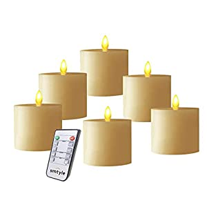 smtyle Fireplace Decorative Candles with Moving Flame Wick Dancing Flame Dinner Table Used Lighting Flickering LED Pillar,Flat top Set of 6