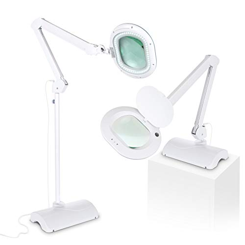 Brightech Lightview Pro LED Lighted XL Magnifying Glass - 2 in 1 Magnifier Lamp Converts from Floor Standing to Table Light - 2.25x Magnification Bright Reading, Craft & Task Lighting - White