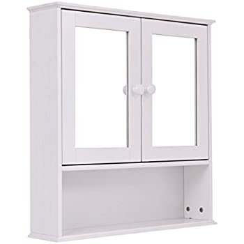 Amazoncom Yaheetech White Wooden Bathroom Wall Cabinet Toilet