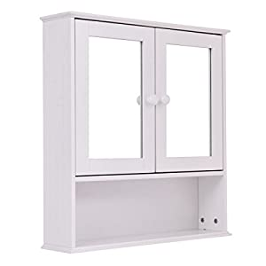 tangkula bathroom cabinet double mirror door wall mount storage wood