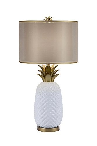 (Catalina Lighting 20114-001 3-Way Ceramic Pineapple Table Lamp with Gold Accents and Double Drum Shade with Gold Trim, Bulb Included, 16