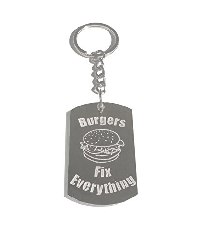 Burgers Fix Everything - Metal Ring Key Chain Keychain (Burger Foods King)