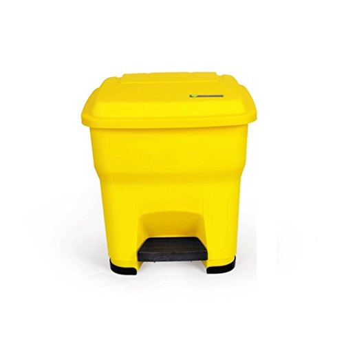Trash can Pedal Trash Home Kitchen Office Square Plastic Thick Large Covered Living Room Dining Room Foot Litter Box (Color : Yellow, Size : 30L)