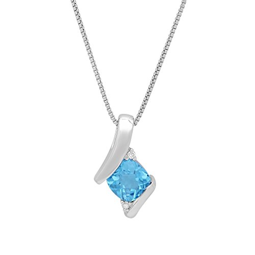 Sterling Silver Swiss Blue Topaz and Diamond Pendant-Necklace (1ct tgw) ()