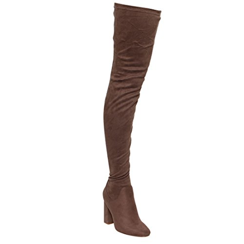 CAPE ROBBIN Kylie-1 Womens Drawstring Block Heel Stretchy Snug Fit Thigh High Boots Taupe