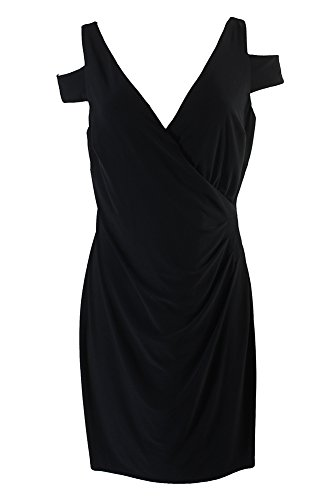 Ruched Jersey Dress - RALPH LAUREN Lauren Black Cutout-Shoulder Side-Ruched Jersey Dress
