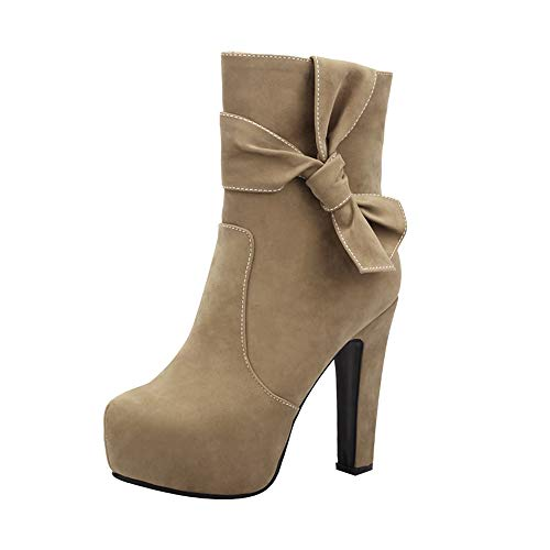 Hunzed Women Shoes Round Head Waterproof high Heel Fashion Side Zip Sexy Ladies Ankle Boots (Khaki, 7)