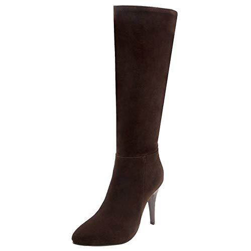 Brown Boots Dress Zipper Fashion Taoffen Stiletto Women Knee Half IBaq8anxwT