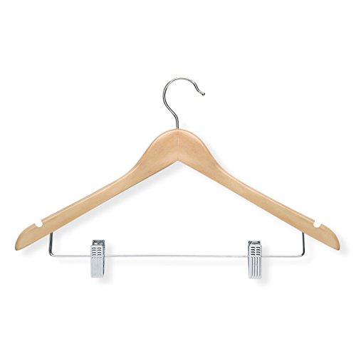 Honey-Can-Do HNGT01209 12-Pack Wooden Suit Hanger with Clips, Maple