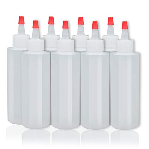 8-pack Plastic Squeeze Condiment Bottles - 4 Ounce with Red Tip Cap - Perfect for Ketchup, BBQ, Sauces, Syrup, Condiments, Dressings, Arts and Crafts - BPA-Free