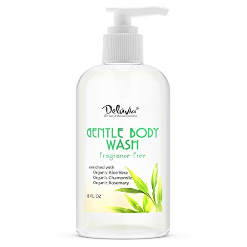 Gentle Body Wash, Moisturizing Body Wash with Aloe Vera, Organic Jojoba Seed Oil, Sweet Almond Oil and Vitamin E, Unscented, for All Skin Types, Including Sensitive Skin. by Deluvia