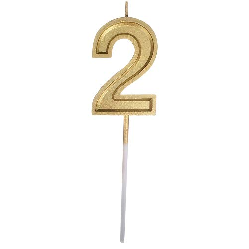 Gold Glitter Happy Birthday Numeral Candles Number 2 Cake Topper Decoration for Adults/Kids Party -Gold Number 2 -