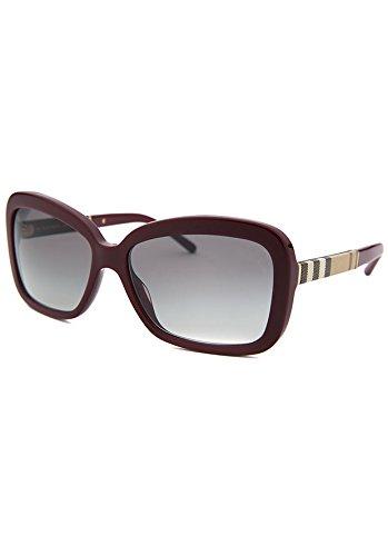 Burberry 4173 340311 Red Burgundy 4173 Rectangle Sunglasses Lens Category - Red Sunglasses Burberry