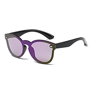 Amomoma Fashion Cateye Rimless Mirrored Sunglasses One Piece Lens for Unisex AM2012 Black Frame/Purple Lens