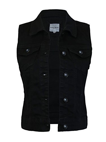 (Instar Mode Women's Sleeveless Button up Jean Denim Jacket Vest Black)