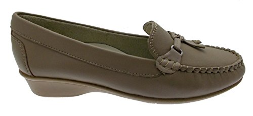 Moccasin classique en cuir beige taupe coin pince