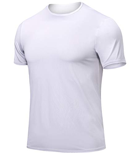 (Lavento Men's Mesh Athletic Shirts Dry Fit Crewneck Short-Sleeved Running T-Shirts (1 Pack-3519 White,X-Large))