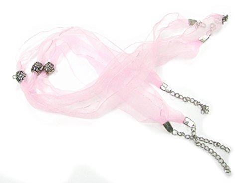 Linpeng AL-2-Pink Sheer Ribbon Necklace_3-Pack ()